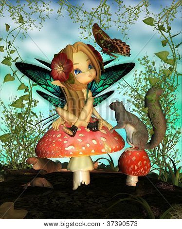 Cute Fairy On Toadstool