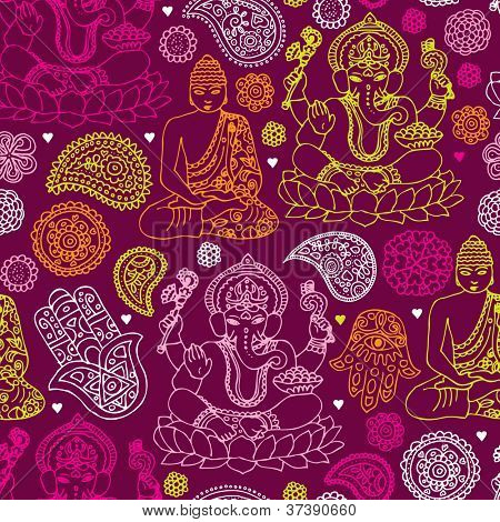 Seamless buddha india yoga background pattern in vector