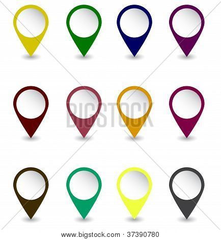 Set of pins in dark retro colors Vector