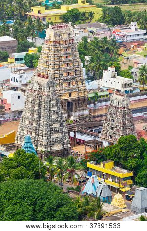Gopura ( towers) of  Lord Bhakthavatsaleswarar Temple. Built by Pallava kings in 6th century. Thirukalukundram (Thirukkazhukundram), near Chengalpet. Tamil Nadu, India