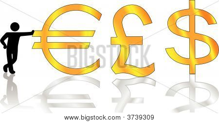Person Symbol Leans On Money Pound Dollar Euro Symbols