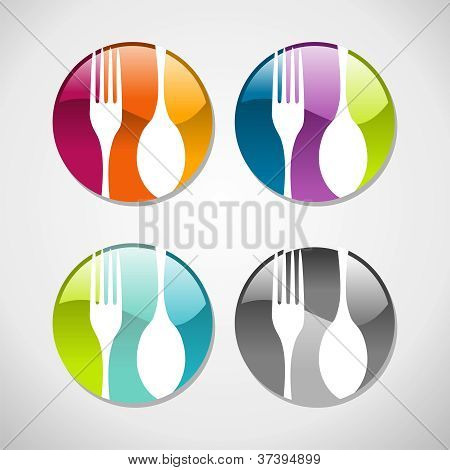 Gourmet Glossy Web Button Icons Set