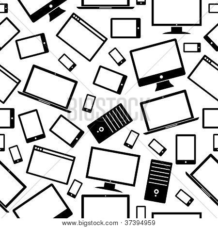 Computer, Mobile And Tablet Icons Pattern