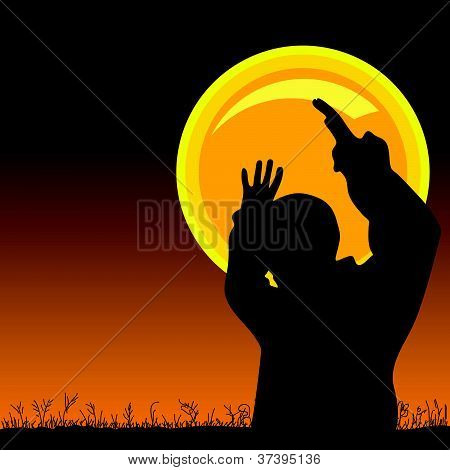 Man On The Moonlight Vector