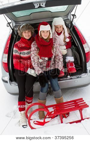 Winter holiday, ski, travel - family with baggage ready for the travel for winter holiday