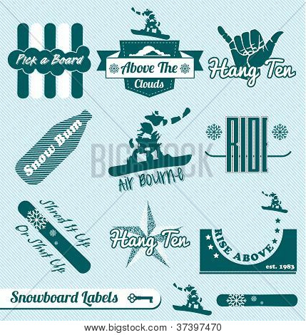 Vector Set: Vintage Snowboard Labels