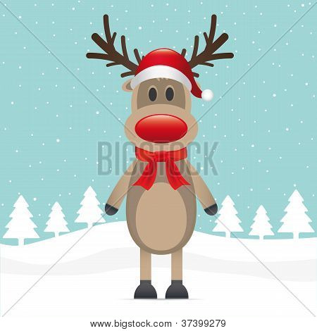Reindeer Red Nose Scarf Hat