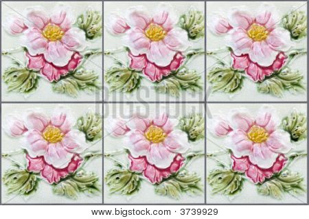 Nyonya Tiles With Pink Flowers