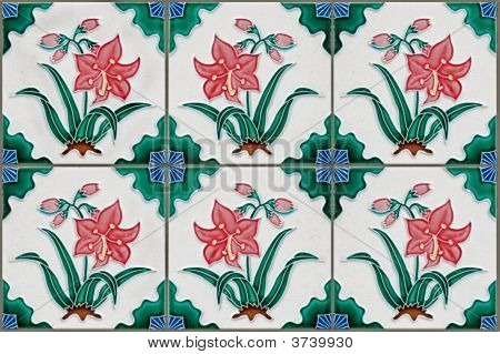 Nyonya Tiles With Red Lilies