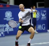 KUALA LUMPUR - SEP 27: Nikolay Davydenko (Rus) plays his round 2 match at the ATP Tour Malaysian Ope
