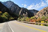 picture of cottonwood  - Highway leads to the Big Cottonwood Canyon Utah - JPG
