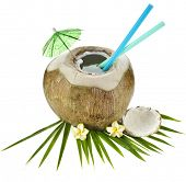 Coconut drink with a straw isolated on white background