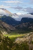 Mountain valley in highland of Nepal, Manang