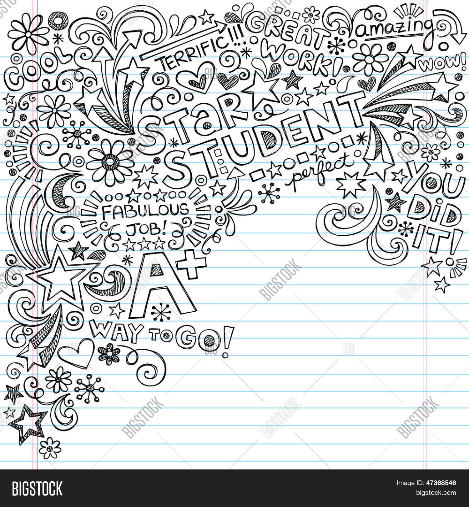 Straight A Star Student Scribble Inky Doodles- Back to ...