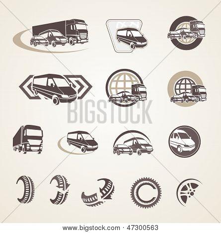 Set of vintage transport icons