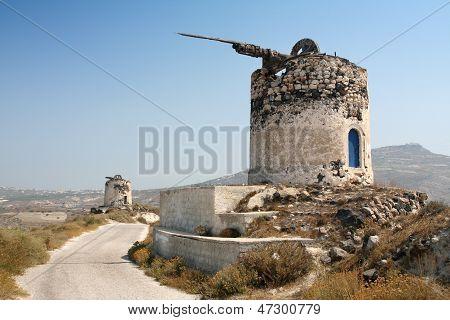 Windmühle Ruinen auf Santorini