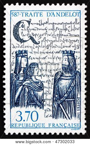 Postage Stamp France 1987 Treaty Of Andelot, 1400Th Anniversary