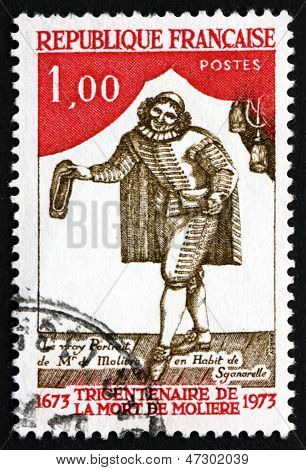 Postage Stamp France 1973 Moliere As Sganarelle, Playwright And Actor