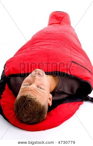 Camping - Man With Red Sleeping Bag