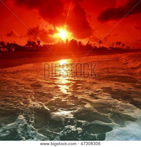 landscape ocean sunrice golden sky