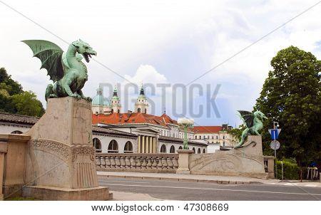 Dragon Bridge View  Cathedral Saint Nicholas On Ljubljanica River Ljubljana Slovenia Europe
