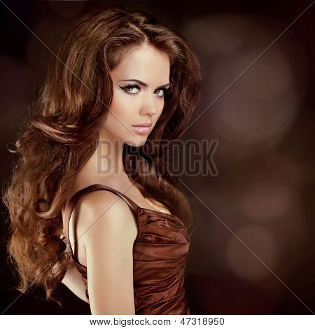Hair. Beautiful Sexy Brunette Woman. Healthy Long Brown Hair. Beauty Model Girl.