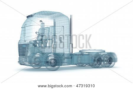 Mesh truck isolated on white