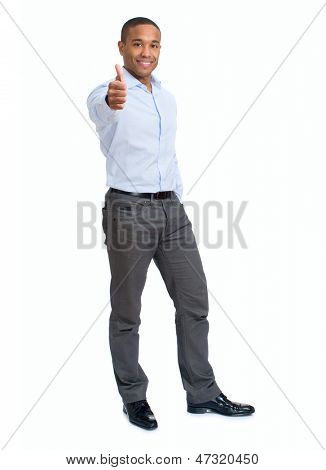 Young Businessman Showing Thumb Up Sign Over White Background