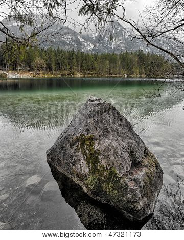 Lake Hintersee With Alps In Background, Berchtesgaden, Bavaria, Germany