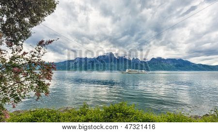 Bank Of The Geneva Lake With Steam Boat, Montreux