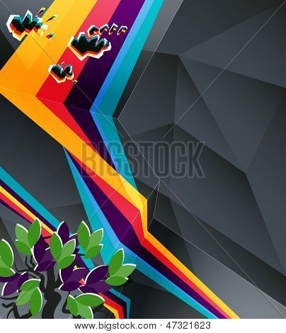Abstract Geometry Background With Grunge And Retro Elements. Eps10 Vector, Transparencies Used