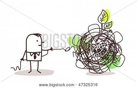 businessman untangling a knot with green leaf