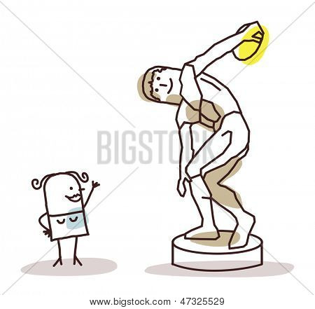 woman watching the discus thrower