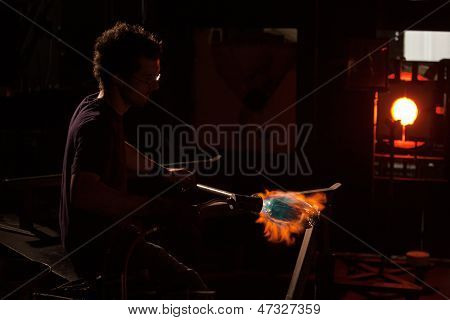Hot Flame Shaping Glass Object