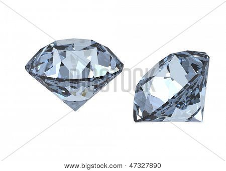 Collections of jewelry gems on white. Swiss blue topaz