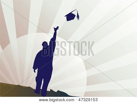 Graduation mortar and diploma