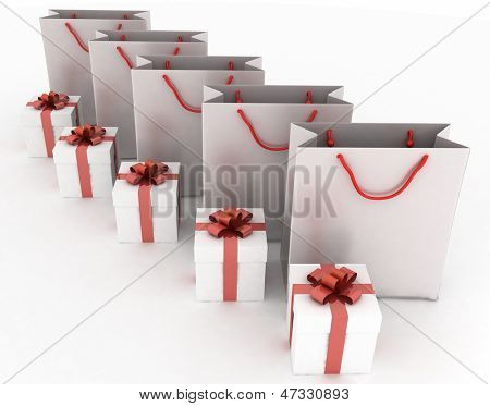 3d illustration of boxes with gifts and paper bags on a white