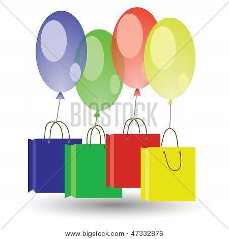 Balões e caixas de Shoping no fundo branco