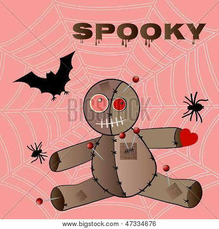 Voodoo doll with spider-web bat and spider
