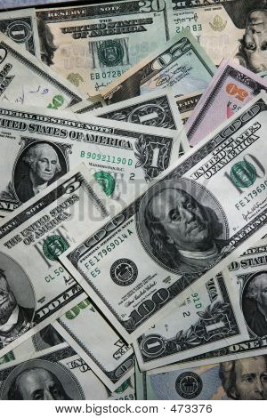 Dollar Bills Background Close-up