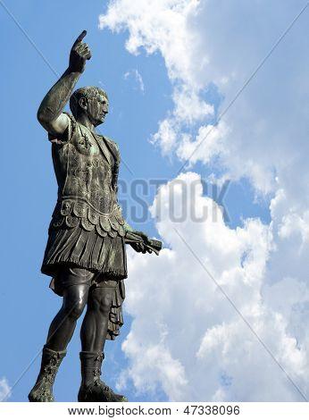 Bronze Statue Of Emperor Caesar Augustus On Via Dei Fori Imperiali, Rome, Italy