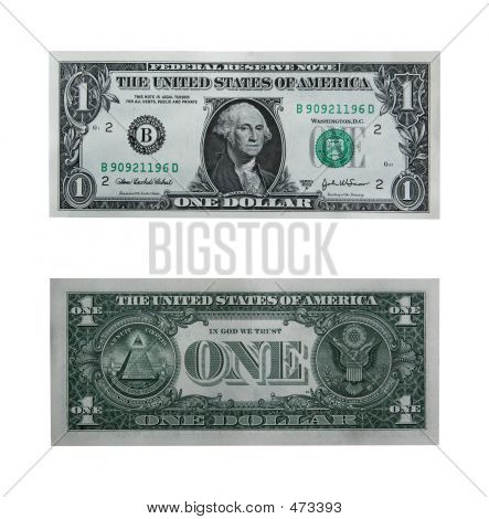 One Dollar Bill With Path