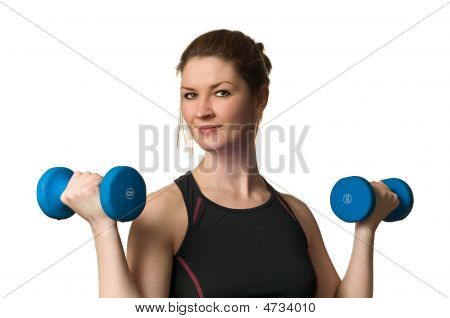 Beautiful Fitness Woman Exercising W/ Weightlifting Dumbells