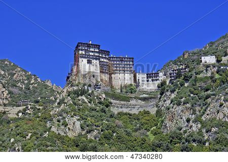 Monastery Of Simonos Petra At Mount Athos In Greece