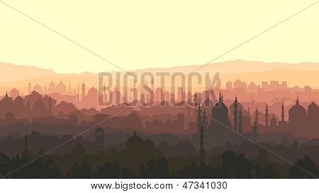 Horizontal Illustration Of Big Arab City At Sunset.