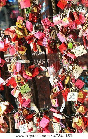 Symbols of love in Verona, Juliet yard, Italy, Europe