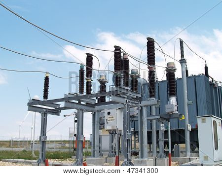 High voltage electrical substation in wind power plant