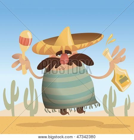 Cartoon Mexican Man With Sombrero Holding A Bottle And Maracas