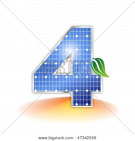 Solar panels texture, alphabet number 4 icon or symbol