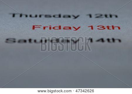 Friday The Thirteenth Straight Red